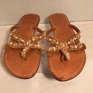 Mystique Starfish Tan Leather Shell Bead Sandals 7